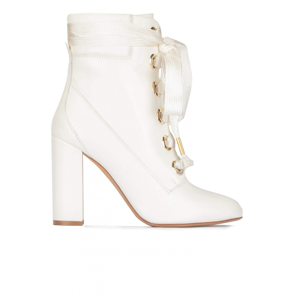 Off-white leather lace up high block heel ankle boots