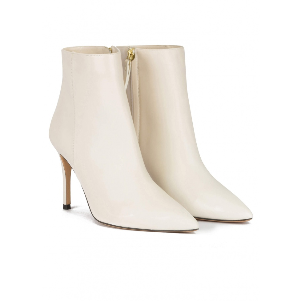 Off-white high heel point-toe ankle boots