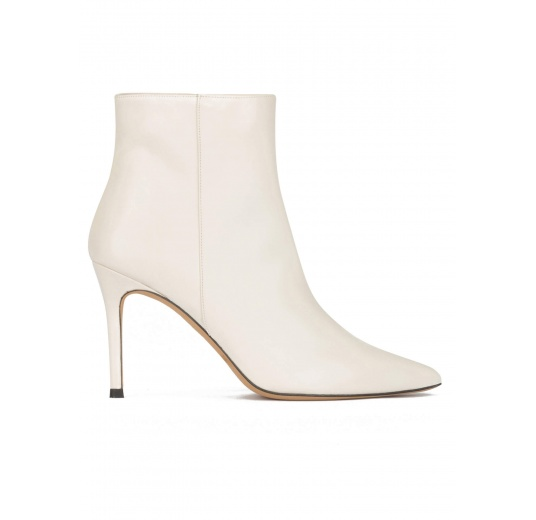 Off-white leather high heel point-toe ankle boots Pura López