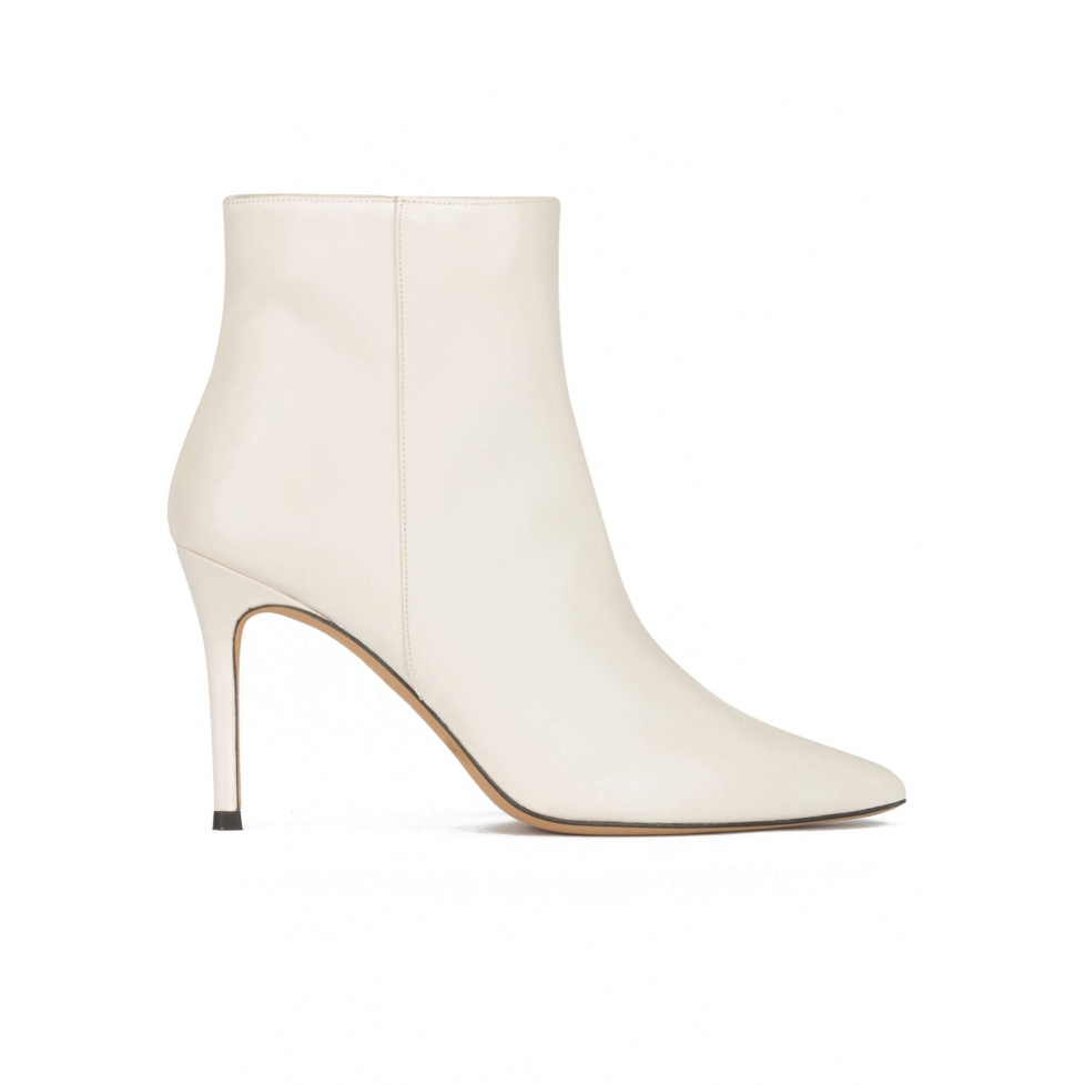 Off-white leather high heel point-toe ankle boots