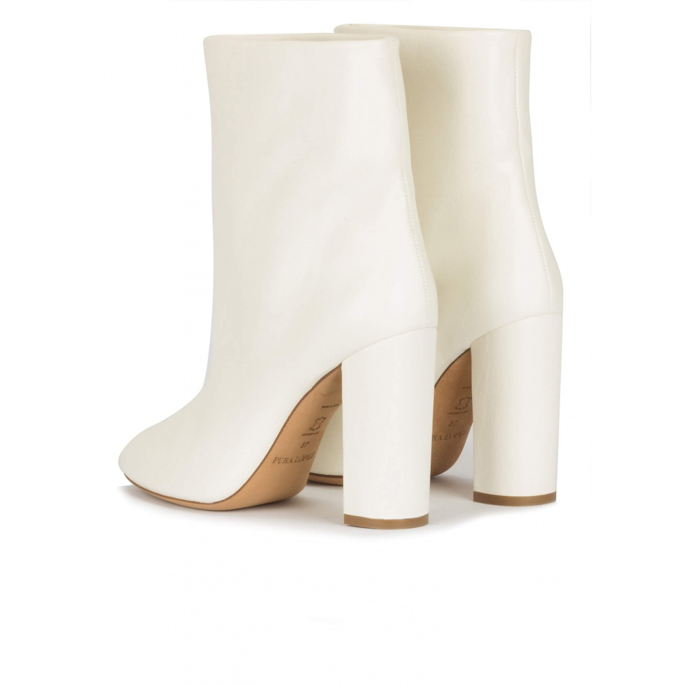 High block heel ankle boots in off-white nappa leather
