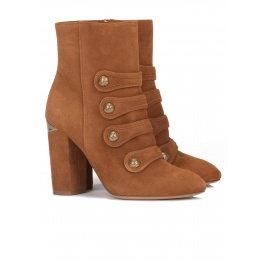 High block heel ankle boots in chestnut suede Pura López