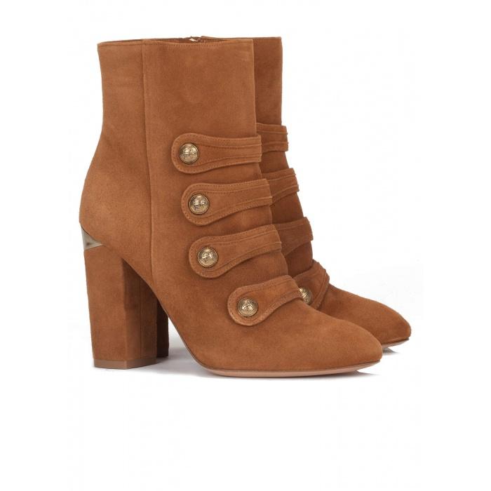 Chestnut high block heel ankle boots - online shoe store Pura Lopez