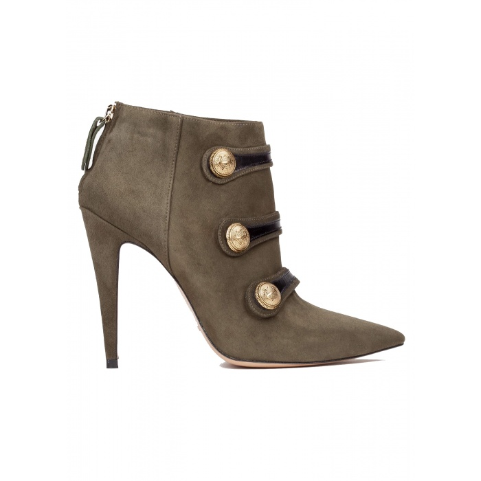 Button detailed high heel ankle boots in military green suede
