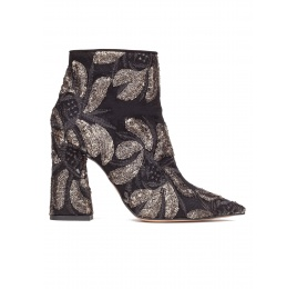 High heel ankle boots in black embroidered sequined tulle Pura López
