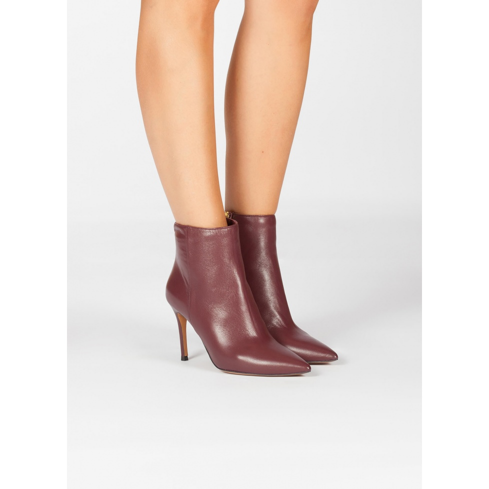 High heel point-toe ankle boot in burgundy leather