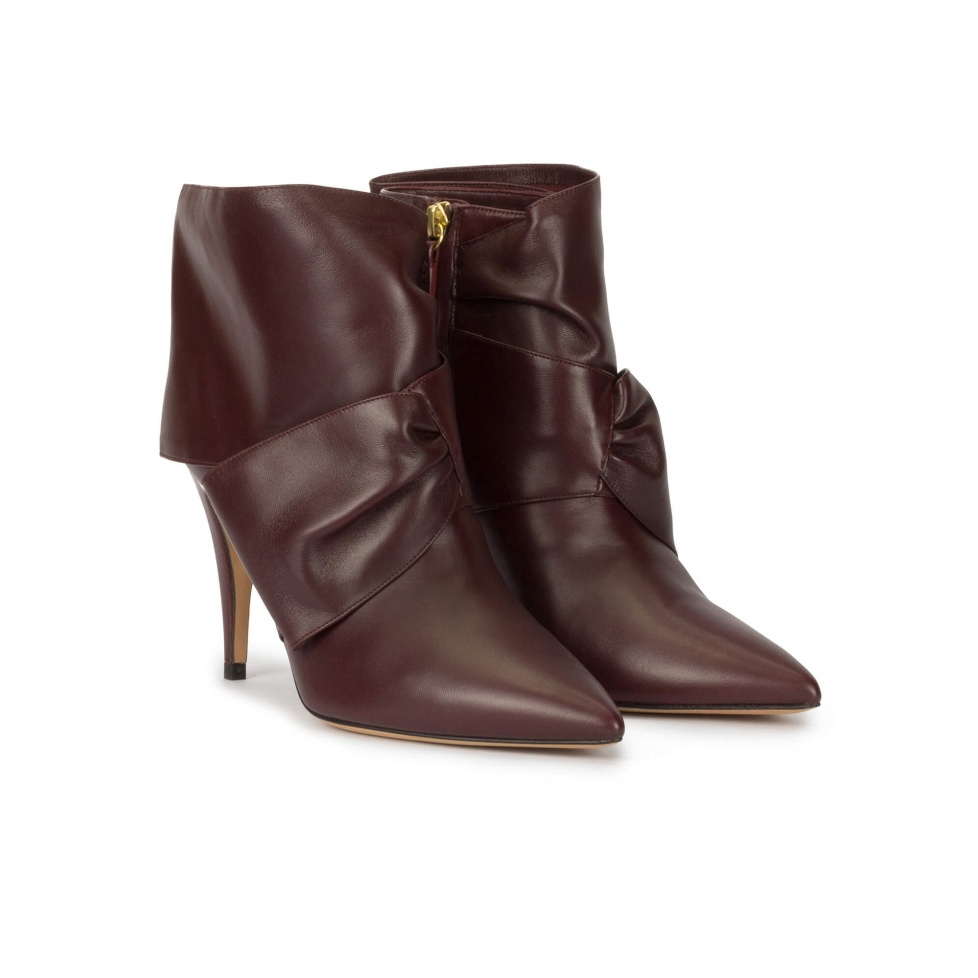 Bow detailed high heel ankle boots in burgundy nappa