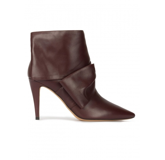 Bow detailed high heel ankle boots in burgundy nappa leather Pura L�pez