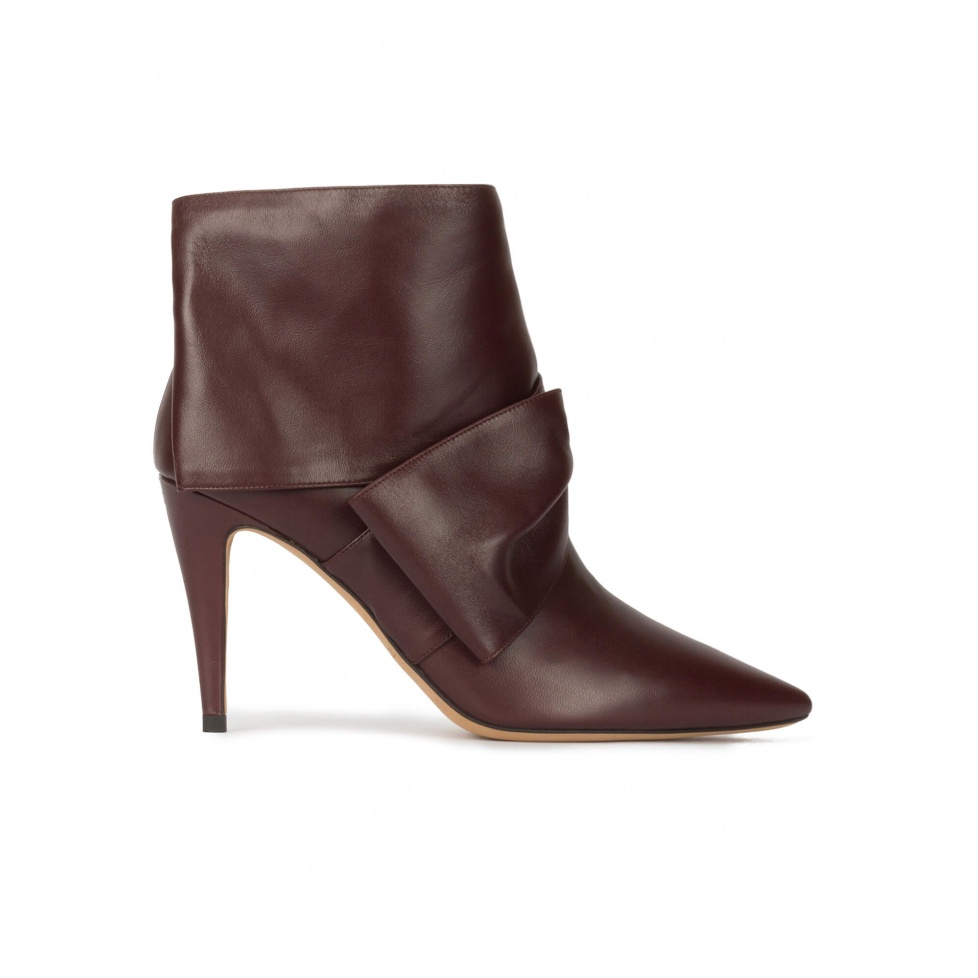 Bow detailed high heel ankle boots in burgundy nappa leather