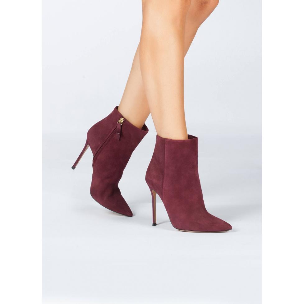 Burgundy high heel ankle boots - online shoe store Pura Lopez