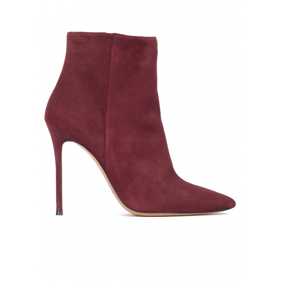High heel pointy toe ankle boots in burgundy suede
