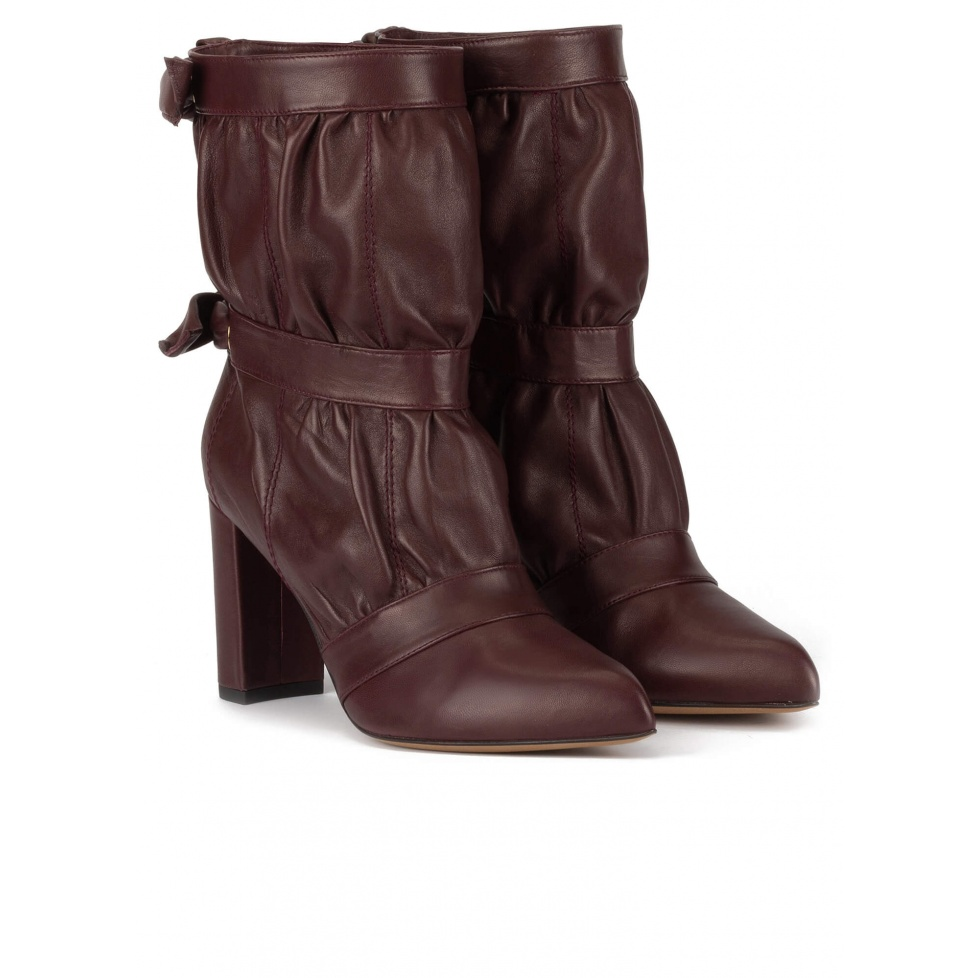 High block heel point-toe ankle boots in burgundy nappa