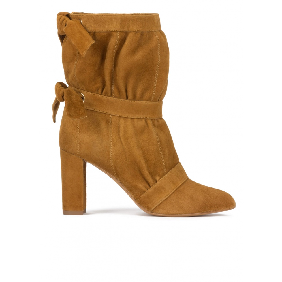 High block heel pointy toe ankle boots in camel suede