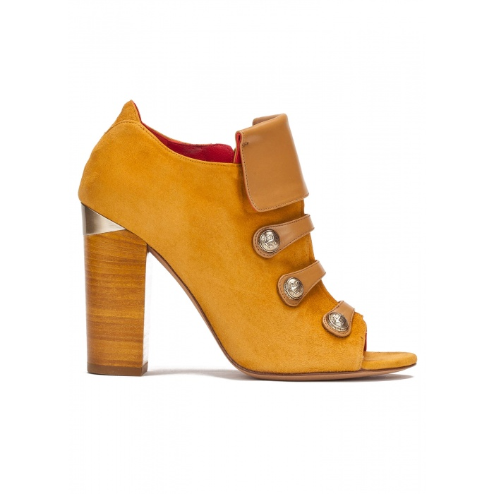 High block heel ankle boots in tobacco suede with metallic buttons
