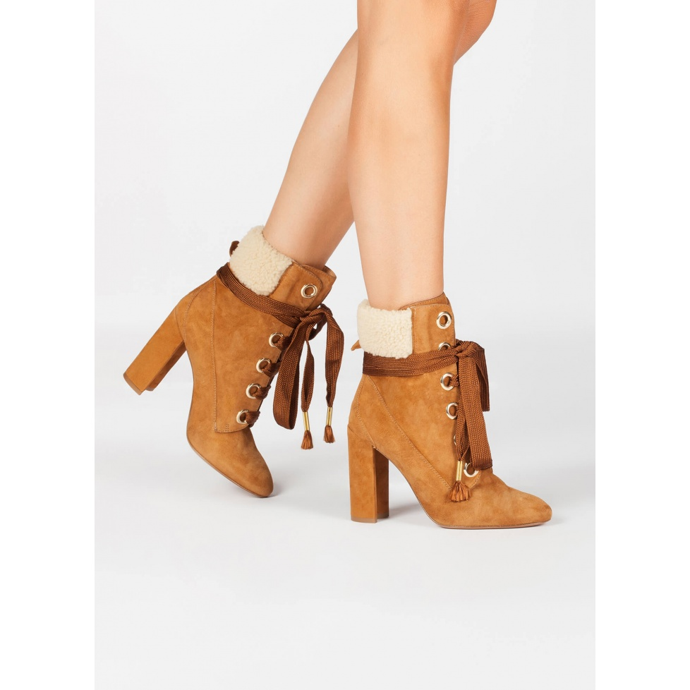 Camel suede lace-up heeled ankle boots