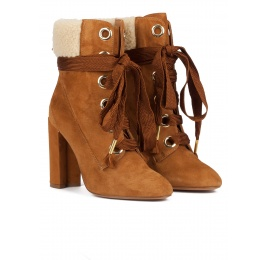 Camel suede lace-up high block heel ankle boots Pura López