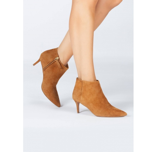 Chestnut suede mid heel ankle boots Pura L�pez