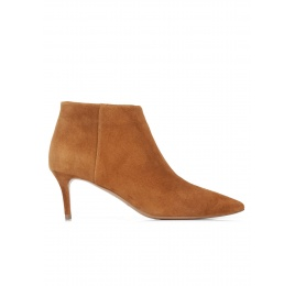 Chestnut suede mid heel ankle boots Pura López