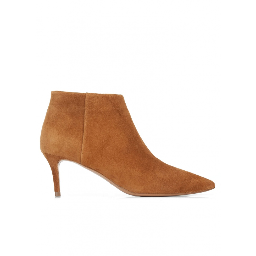 Chestnut suede mid heel ankle boots