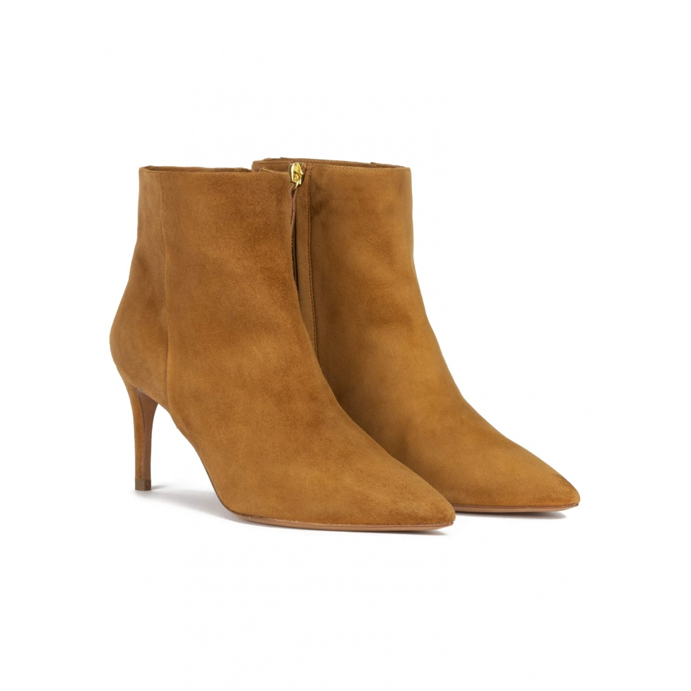 Mid-heel pointed toe ankle boots in camel suede