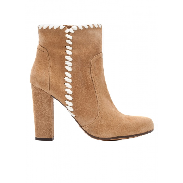 High heel ankle boots in camel suede