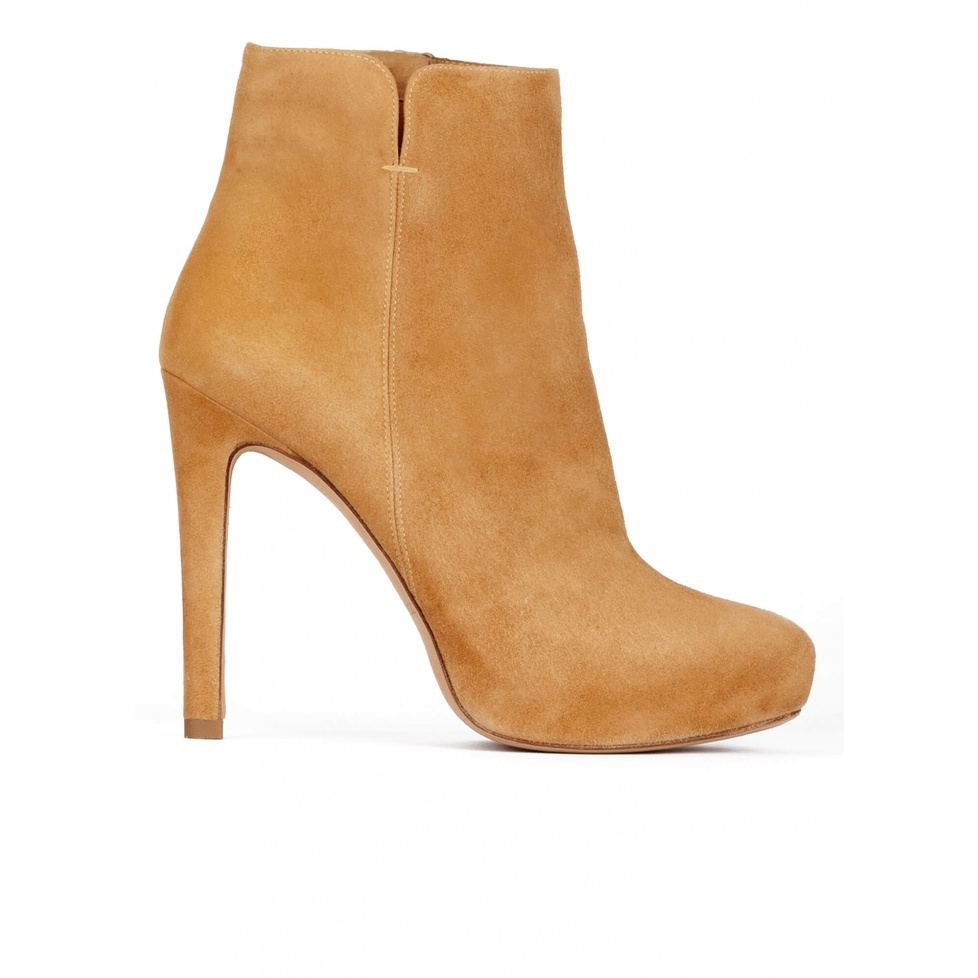 Camel suede high heel ankle boots with concealed platform