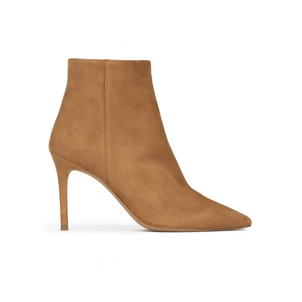 Camel suede heeled pointy toe ankle boots