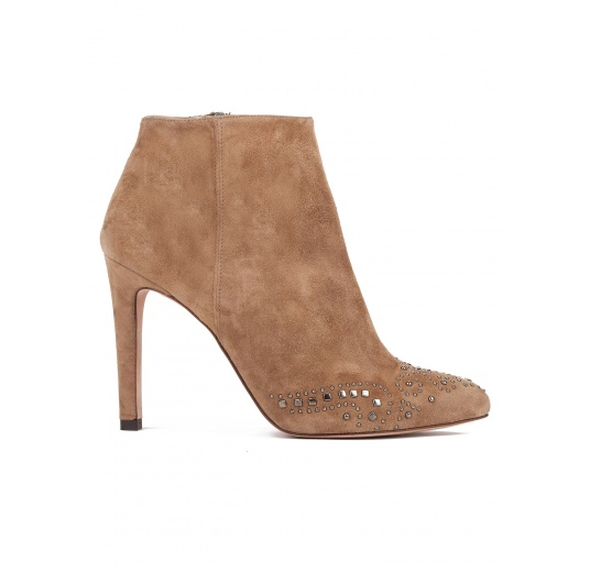 High heel ankle boots in camel suede Pura L�pez