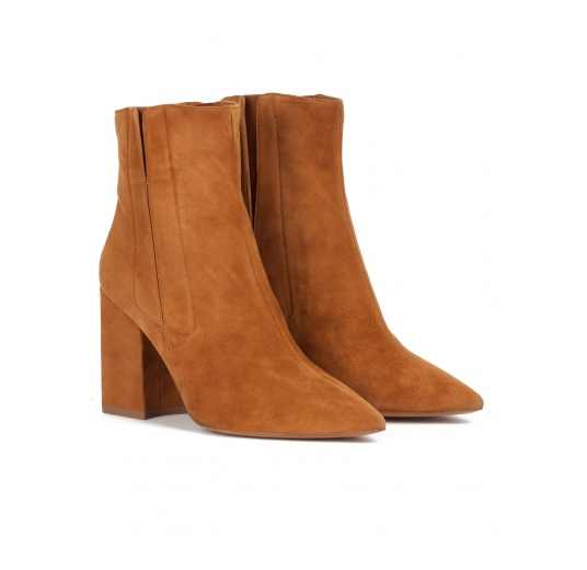 Camel suede high block heel point-toe ankle boots Pura L�pez