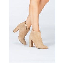 Camel suede high block heel ankle boots Pura López