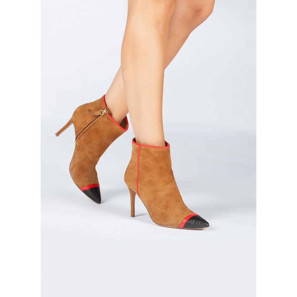 Camel high heel ankle boots - online shoe store Pura Lopez