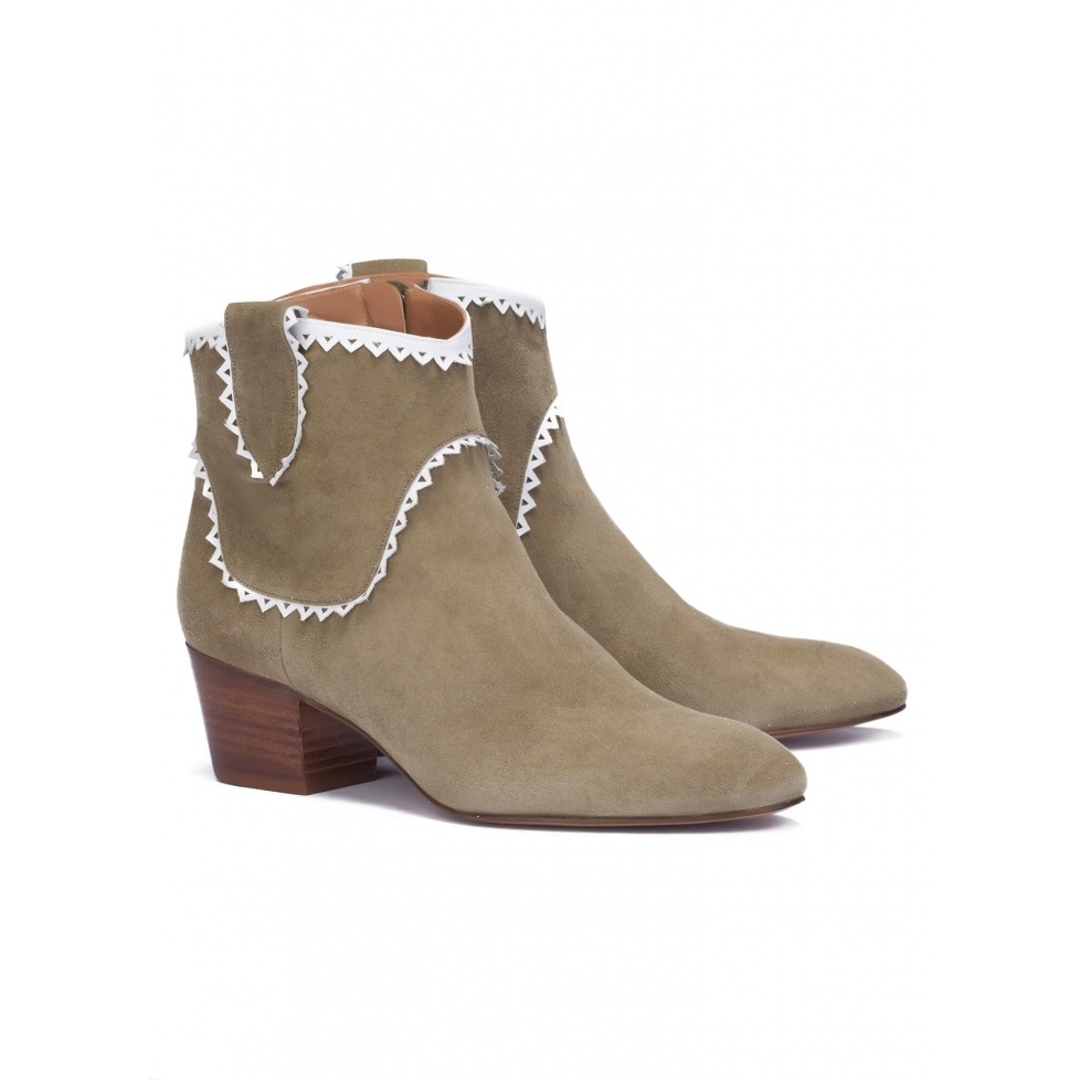 Kaki mid heel ankle boots - online shoe store Pura Lopez