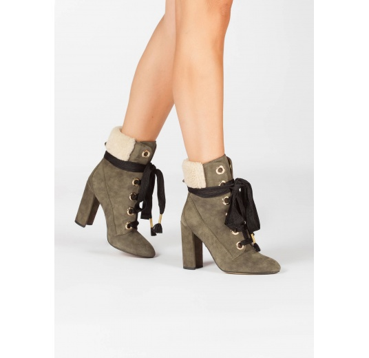 Lace-up high block heel ankle boots in khaki green suede Pura L�pez