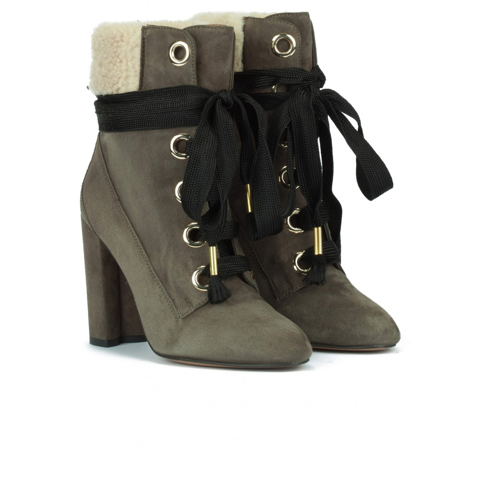 Green lace-up high block heel ankle boots