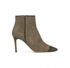 High heel point-toe ankle boots in khaki green suede Pura López