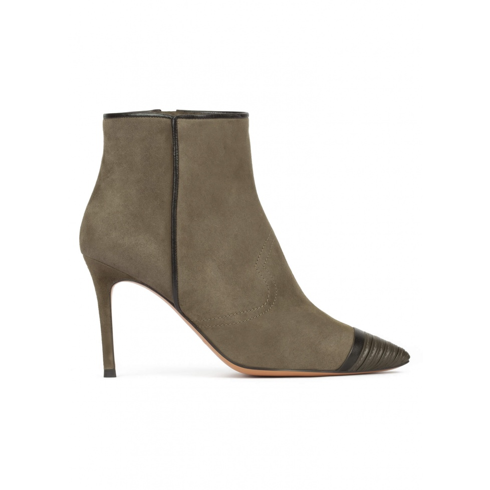 High heel point-toe ankle boots in khaki green suede