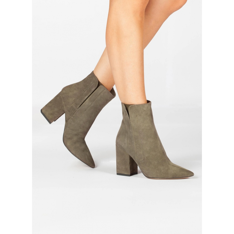 Khaki green suede high chunki heel point-toe ankle boot