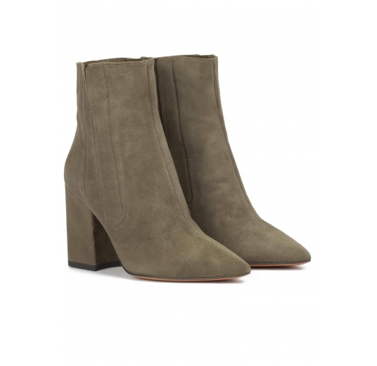 Khaki green suede high block heel pointy toe ankle boots Pura L�pez