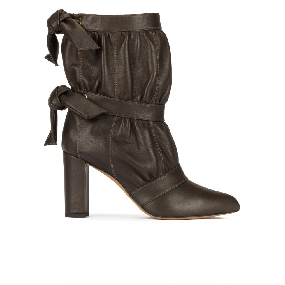 High block heel pointed toe ankle boots in khaki green nappa leather