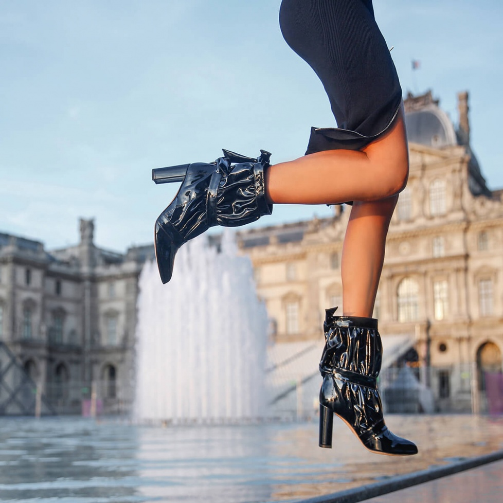 High block heel pointy toe ankle boots in black patent