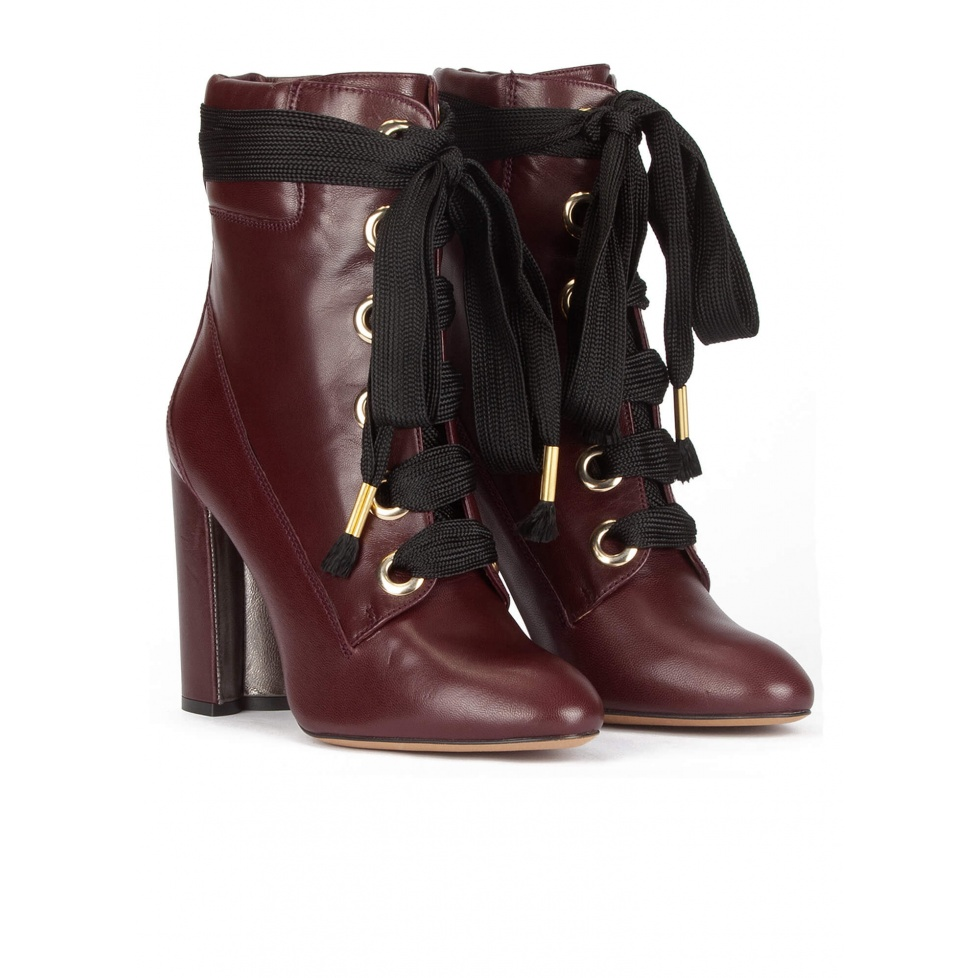 Lace up high block heel ankle boots in burgundy leather