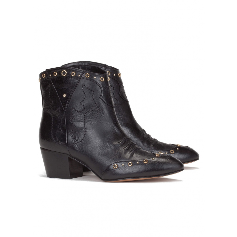 Cowboy ankle boot in black leather - online shoe store Pura Lopez