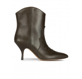 Curved heel cowboy ankle boots in military green leather Pura López