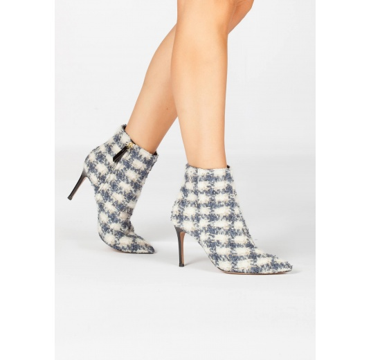 High heel pointy toe ankle boots in checked fabric Pura L�pez