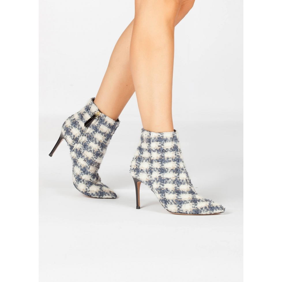 Checked high heel pointy toe ankle boots