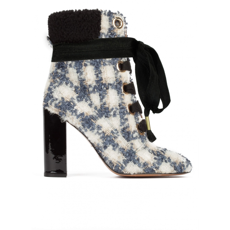 Checked fleece ankle cuff lace-up high block heel ankle boots