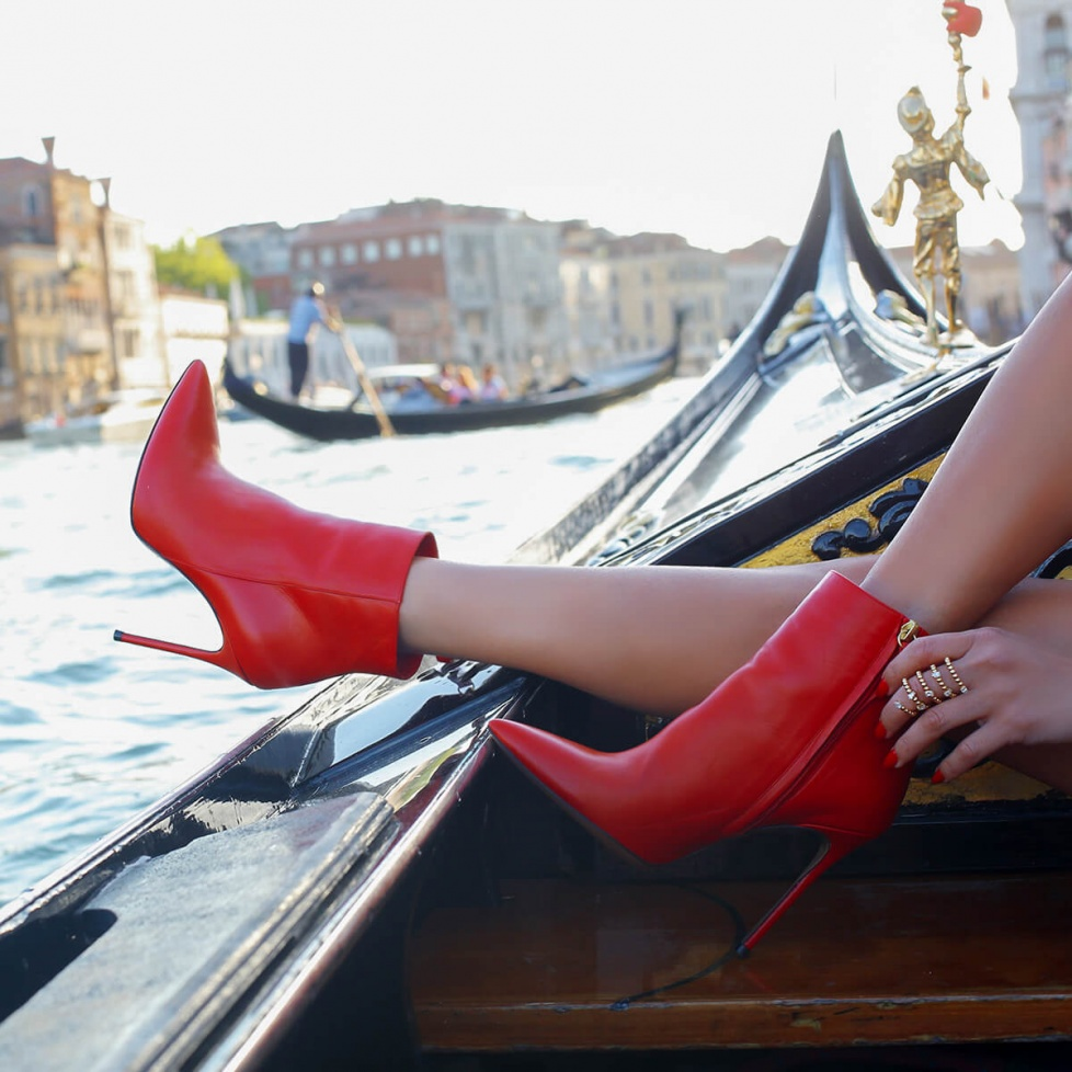 Red high heel ankle boots
