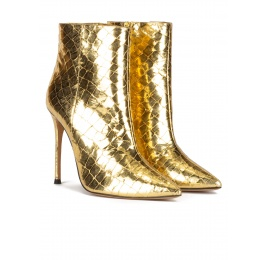 Gold point-toe stiletto heel ankle boots in croco-effect leather Pura López