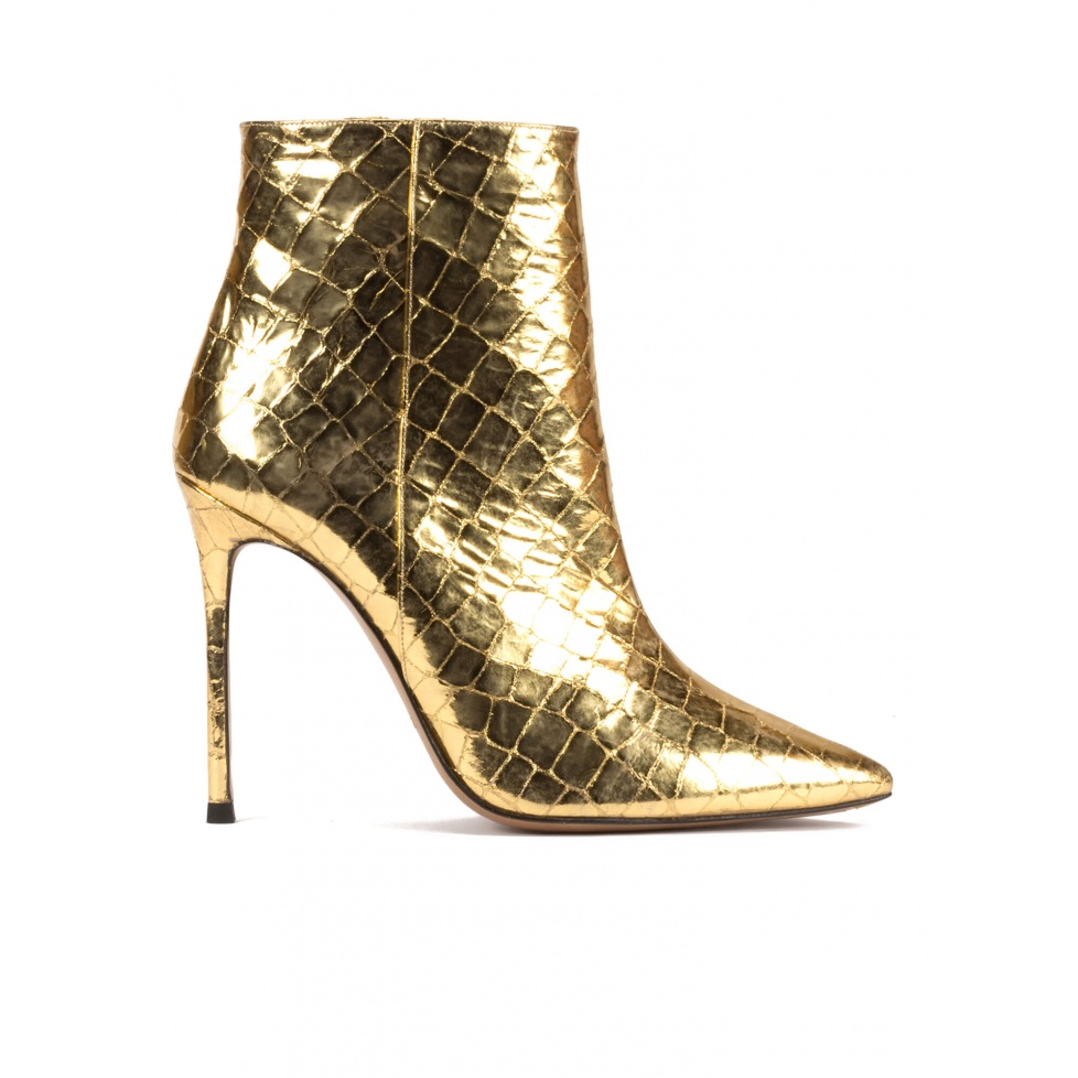 Gold point-toe stiletto heel ankle boots in croco-effect leather