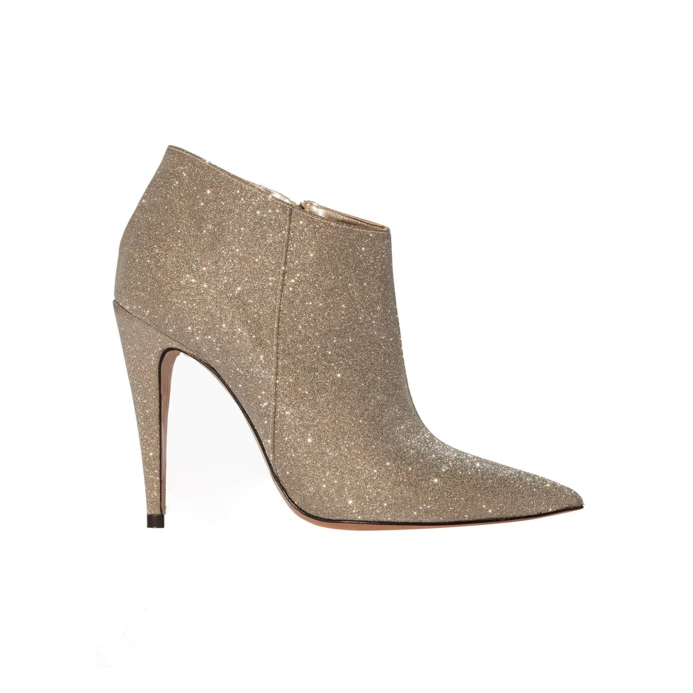 High heel ankle boots in platinum glitter